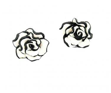 Tuxedo Rose Stud Earrings