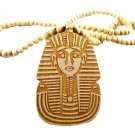 TAN Men's Wooden Bead King Tut Pharaoh Pendant Necklace