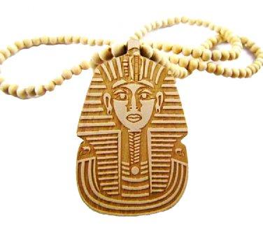 TAN Men's Wooden Bead King Tut Pharaoh Pendant Necklace