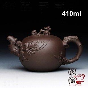 Handmade 410ml Yixing Zisha Unglazed Clay China Pottery Teapot Grape w Squirrel ,  free shipping
