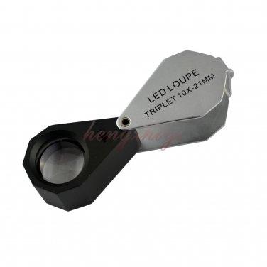 10X Diamond Gem Loupe w Six LED Light + 21mm Achromatic Aplanatic Len + Leather Case, Free Shipping