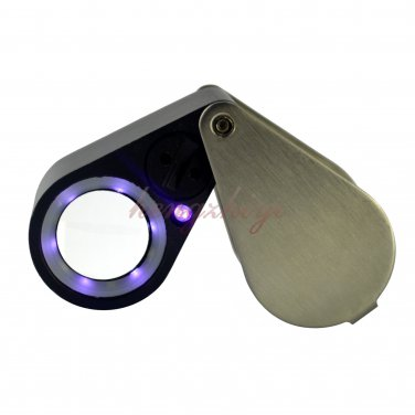 10X Jewelry Diamond Triplet Loupe Magnifier + LED & UV Light 21mm Lens + Leather Case, Free Shipping