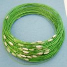 """Lite Green Cable Choker With Screw Head Barrel Clasp 18"""""""