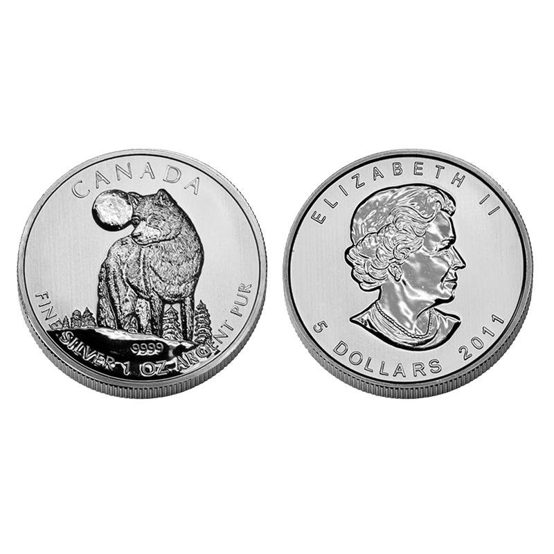 2011 CANADIAN TIMBER WOLF 1 OZ .9999 SILVER $5 COIN