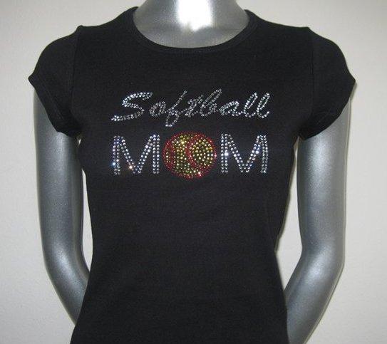 Softball Mom Rhinestone Tshirt