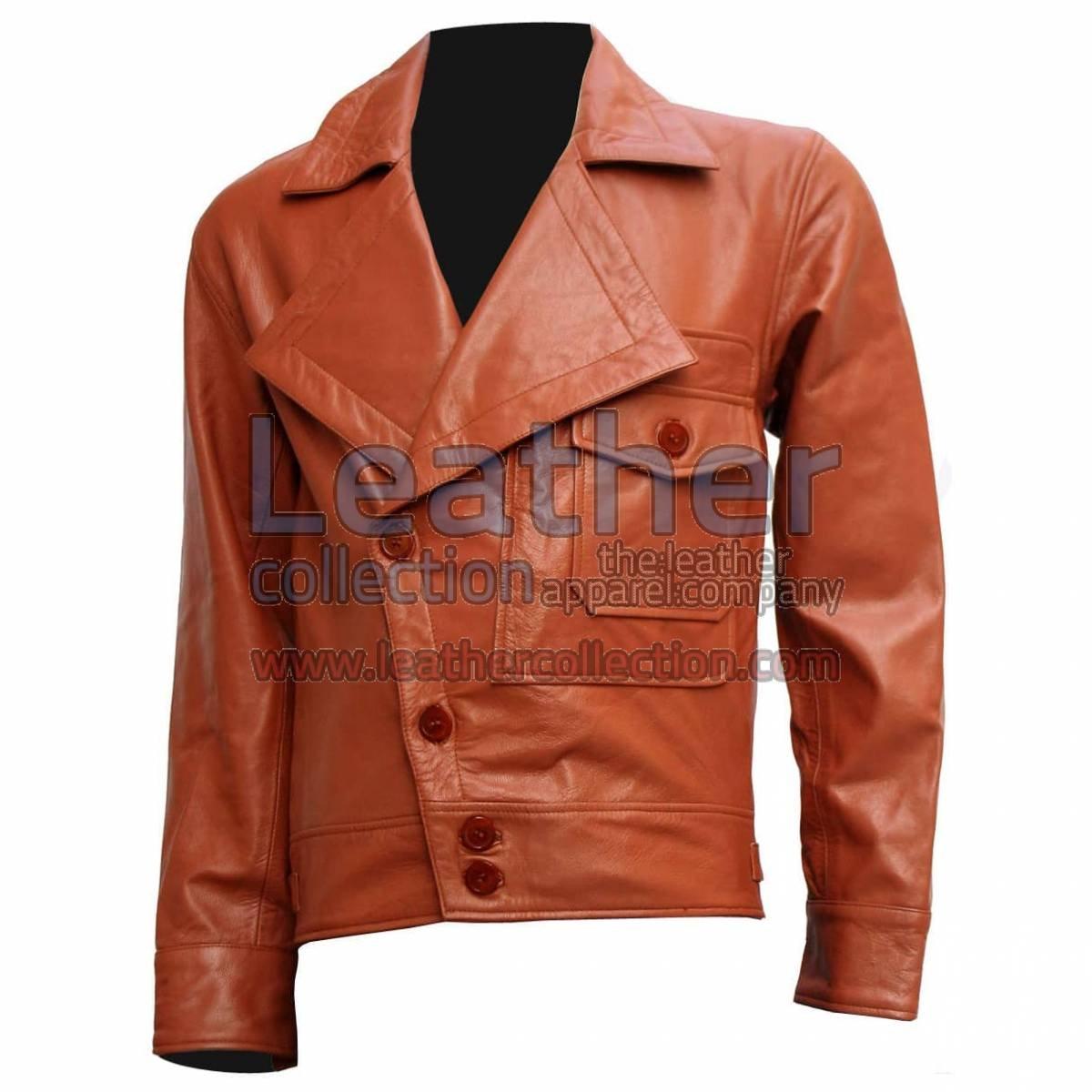 Aviator Movie Tan Biker Leather Jacket