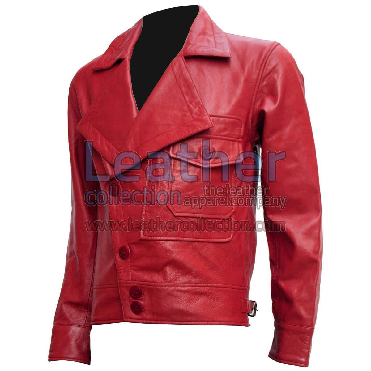 Aviator Red Biker Leather Jacket