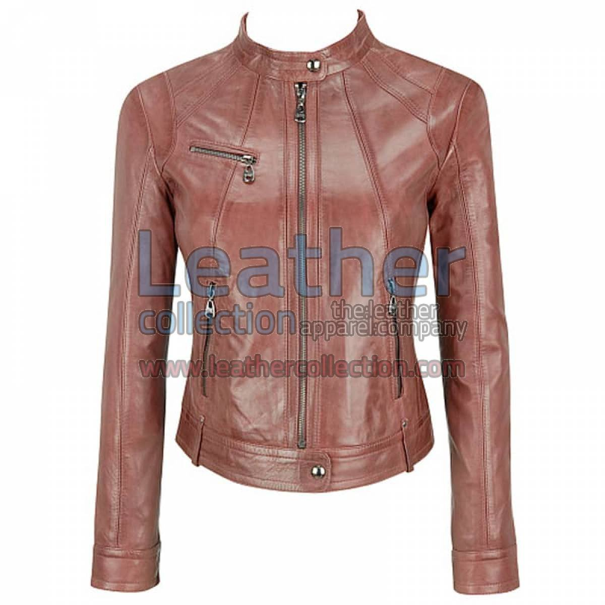 Banded Collar Washed Leather Scuba Jacket In Brown