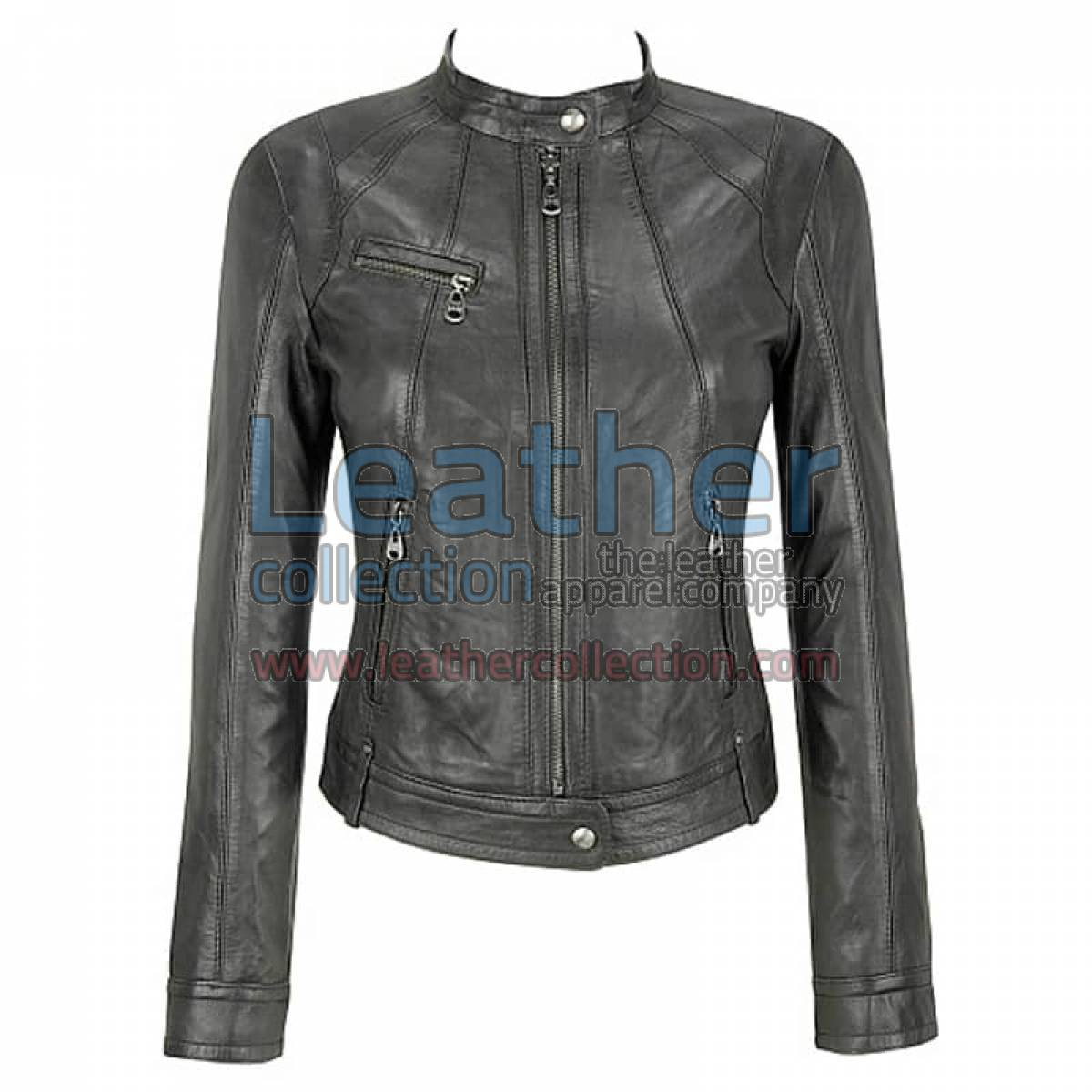 Banded Collar Washed Leather Scuba Jacket in Gray