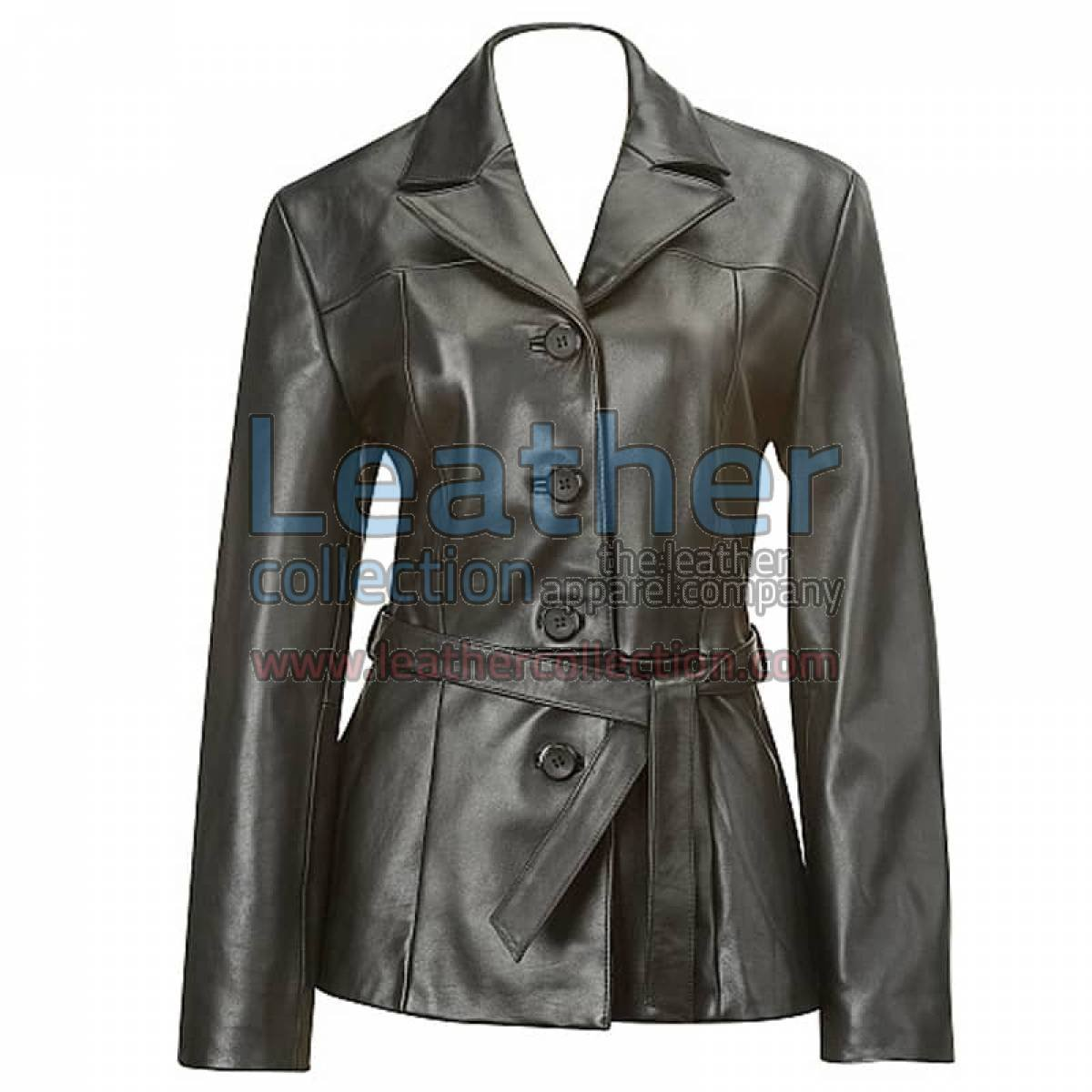 Belted Baby Doll Leather Coat