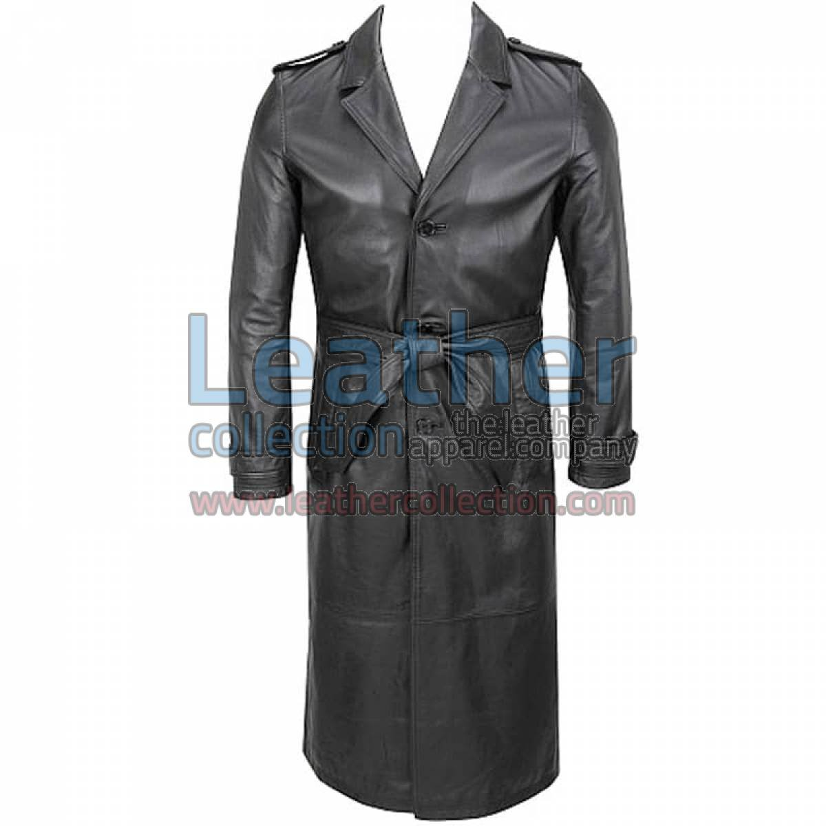 Belted Classic Leather Long Trench Coat