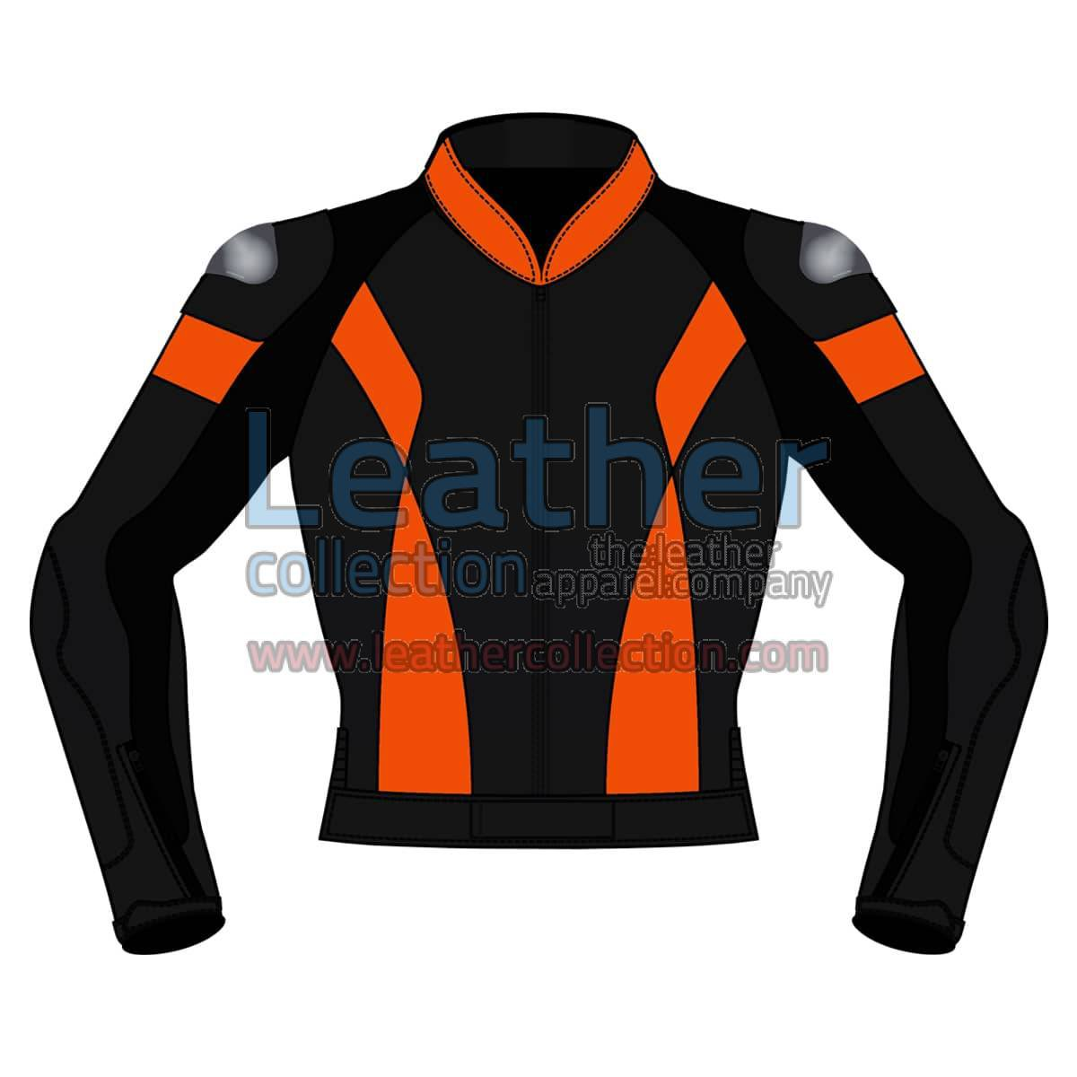Bi Color Motorbike Leather Jacket For Men