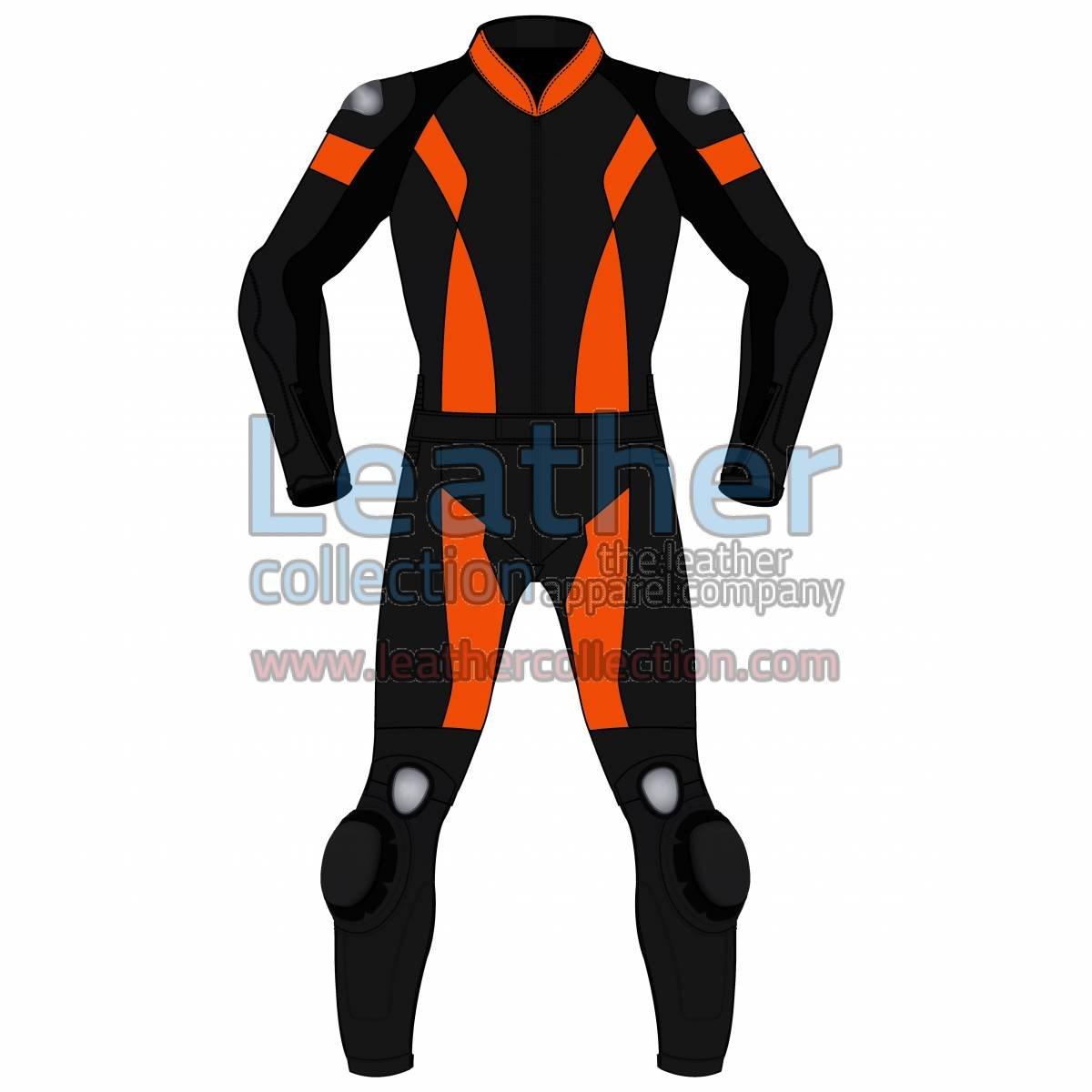 Bi Color Two-Piece Motorbike Leather Suit For Men