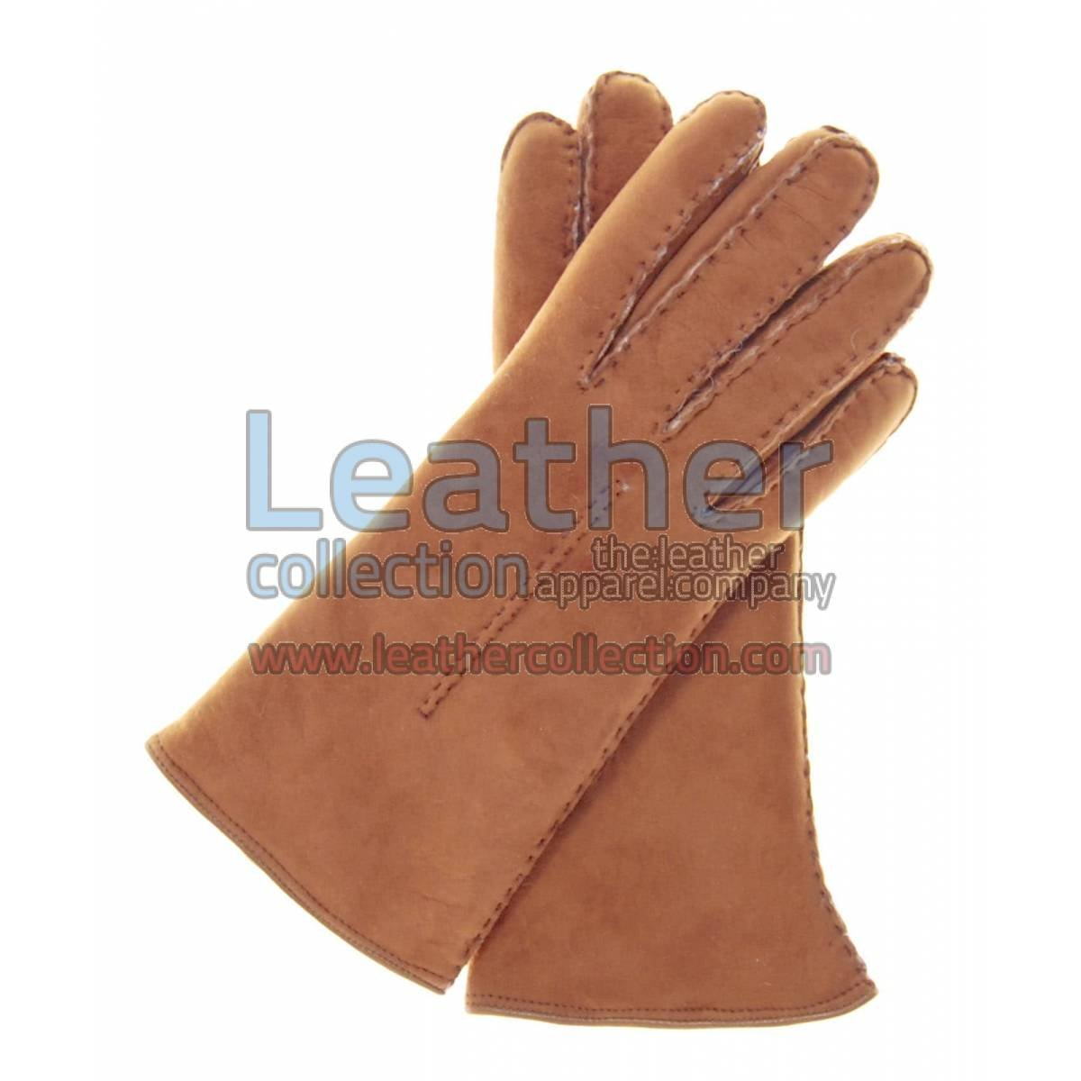 Biege Suede Lamb Shearling Gloves Womens
