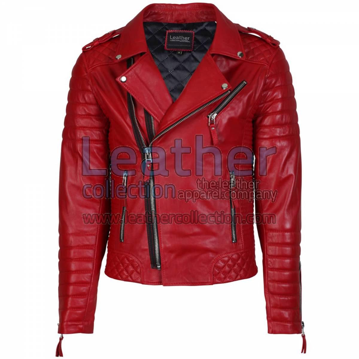 Biker Men Red Quilted Leather Jacket