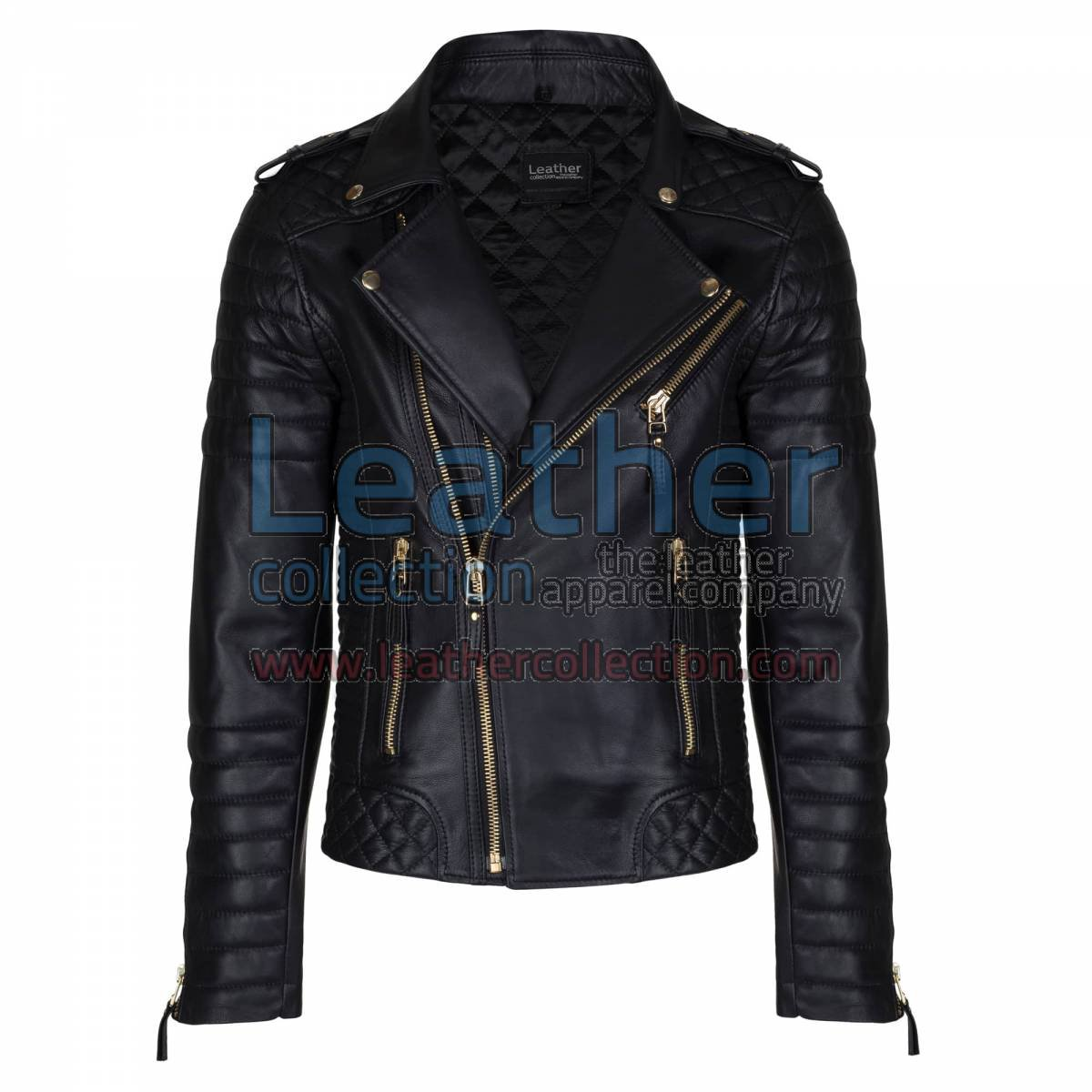 Biker Mens Quilted Leather Jacket with Golden Hardware
