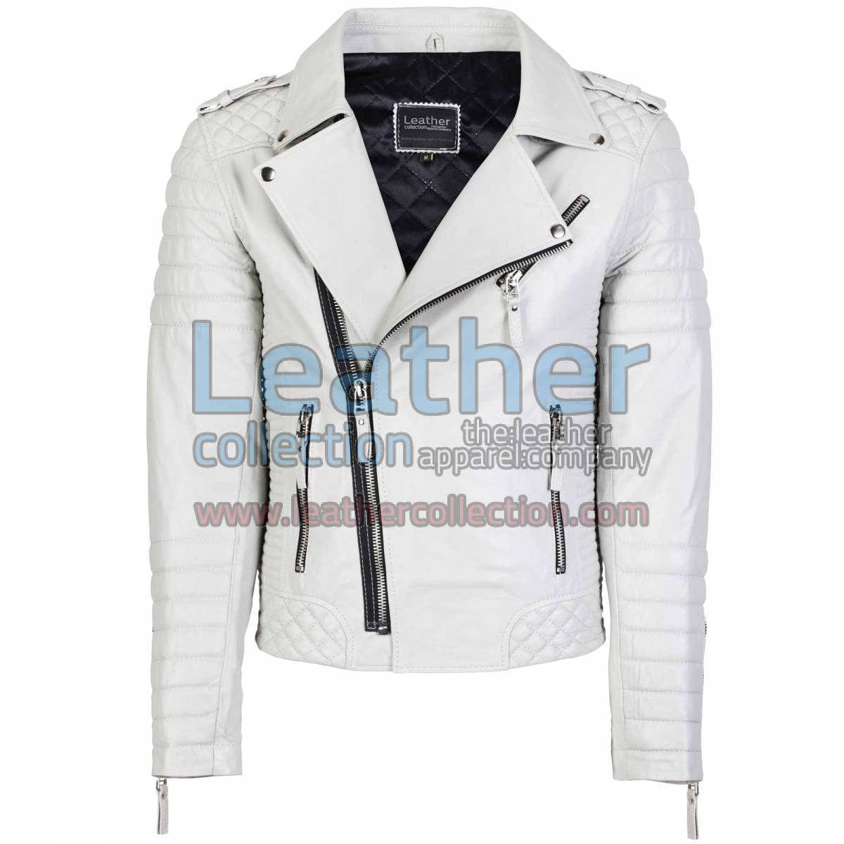 Biker Mens White Quilted Leather Jacket