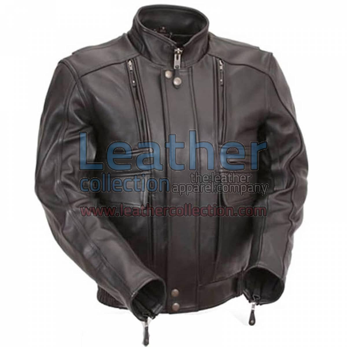 Biker Naked Leather Jacket with Side Stretch Panels