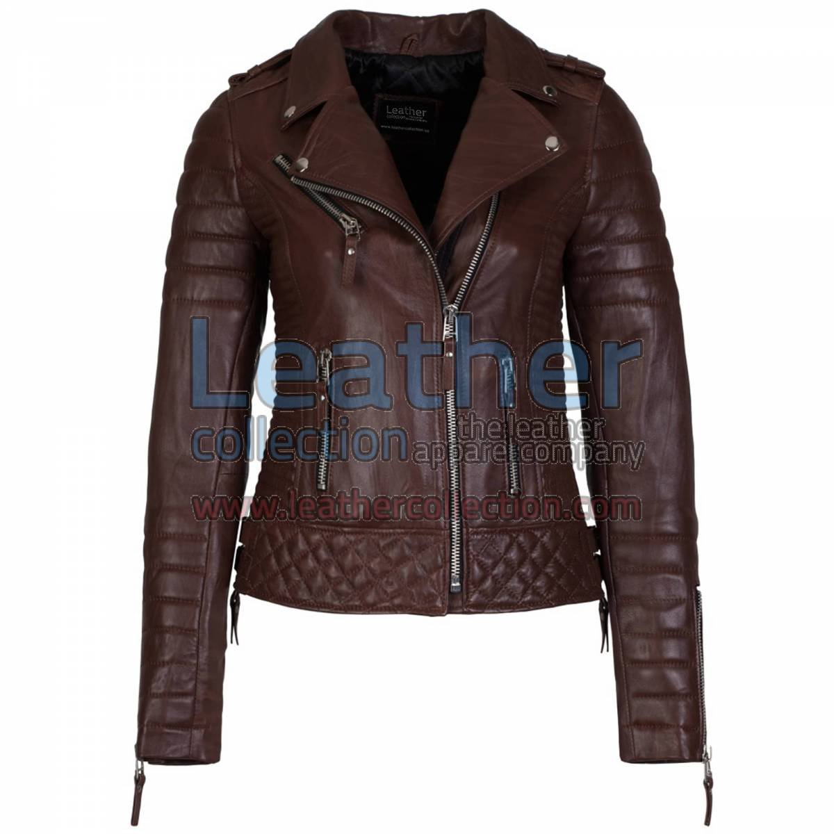 Biker Women Brown Quilted Leather Jacket