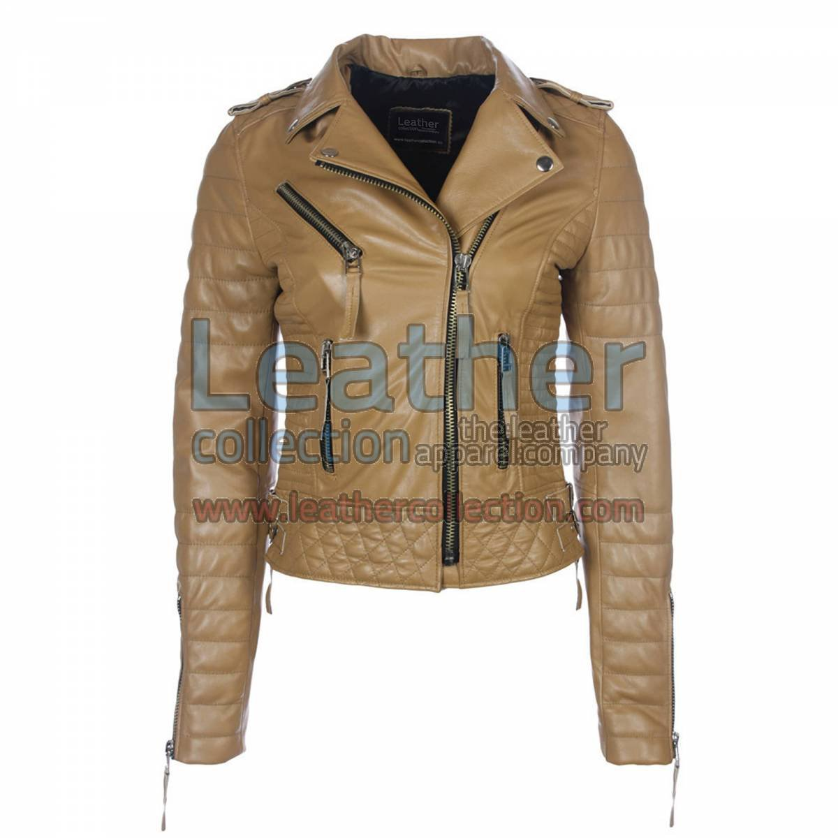 Biker Womens Camel Quilted Leather Jacket