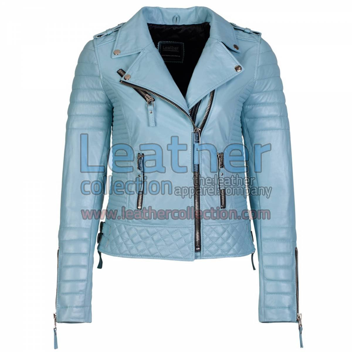 Biker Womens Leather Quilted Jacket Sky Blue