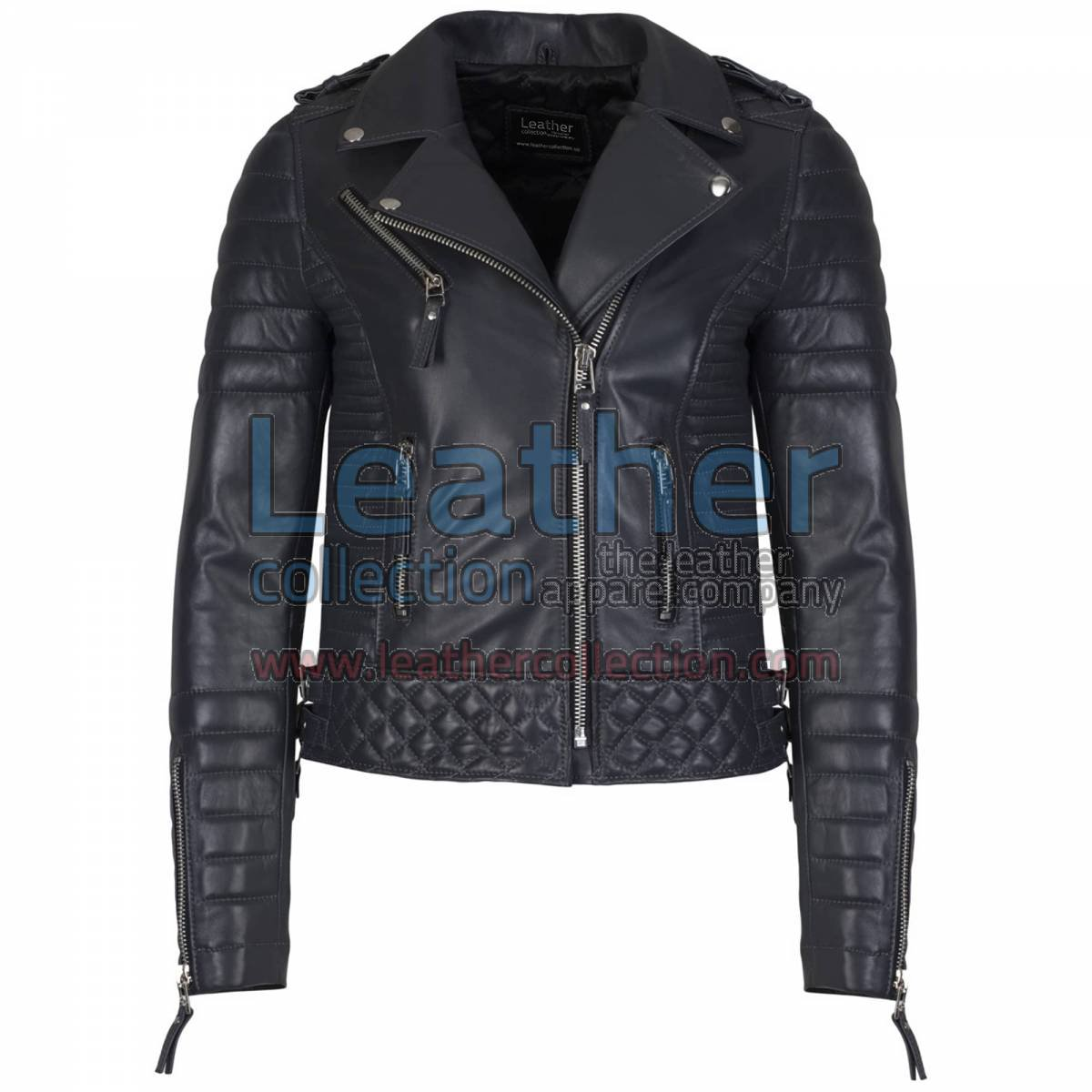 Biker Womens Quilted Leather Jacket Charcoal