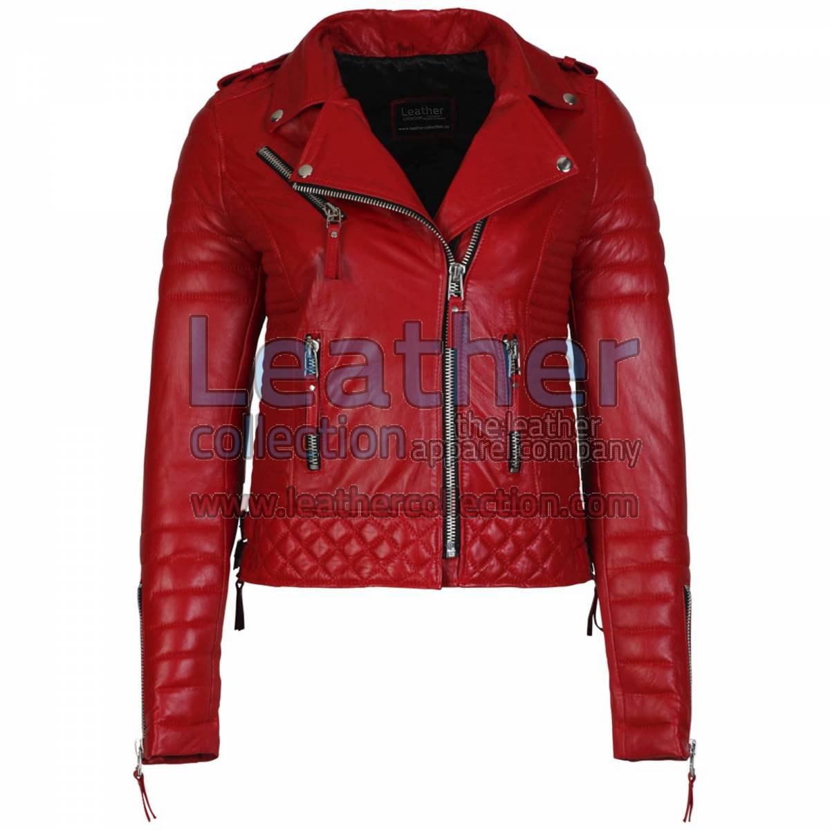 Biker Womens Red Quilted Leather Jacket