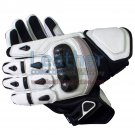 Black & White Short Motorcycle Gloves