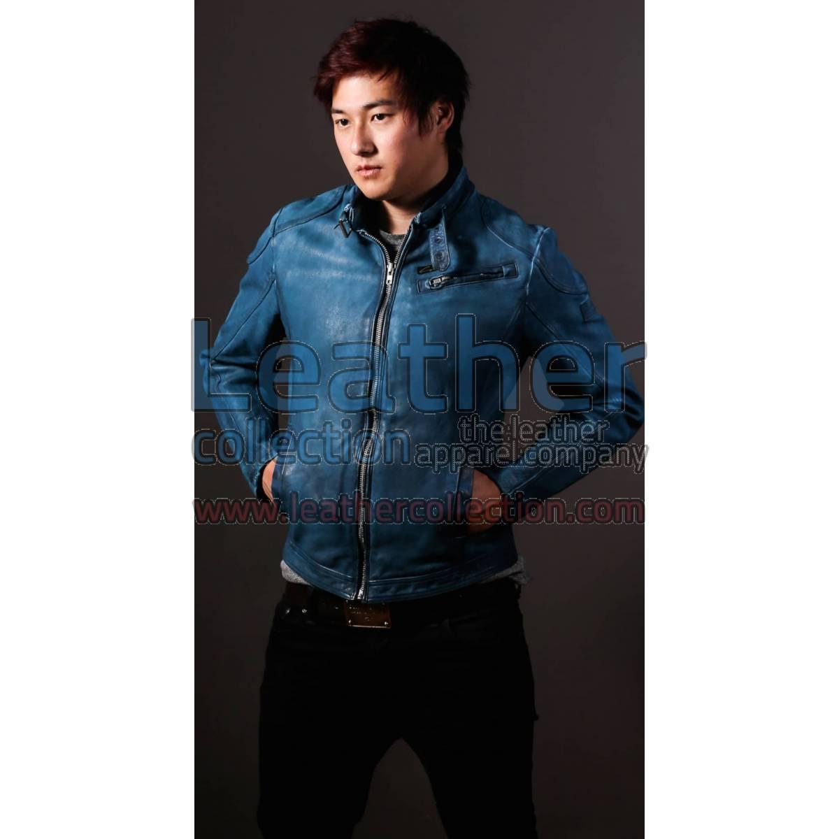 Blue Jazz Leather Jacket For Men