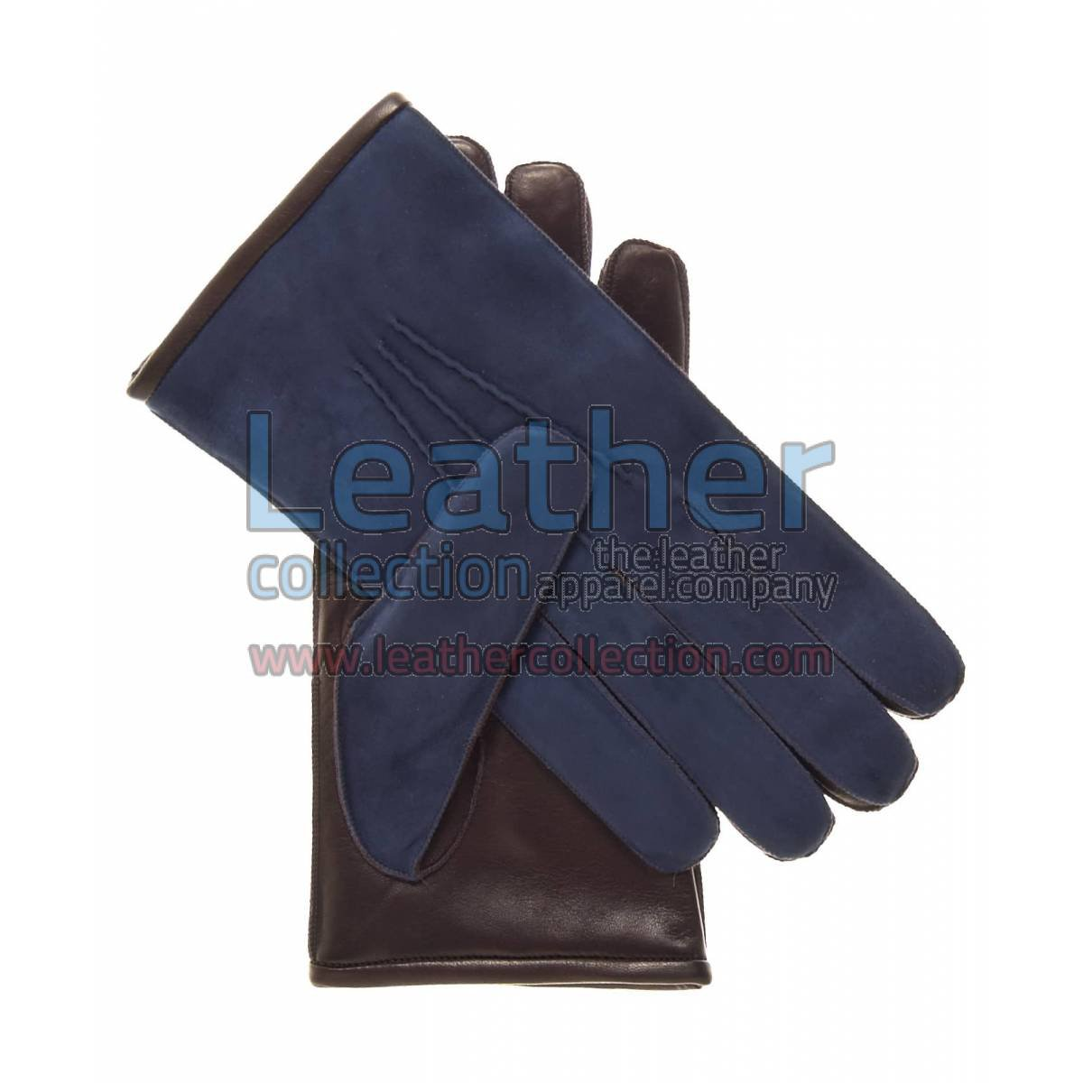 Blue Suede and Lamb Skin Gloves
