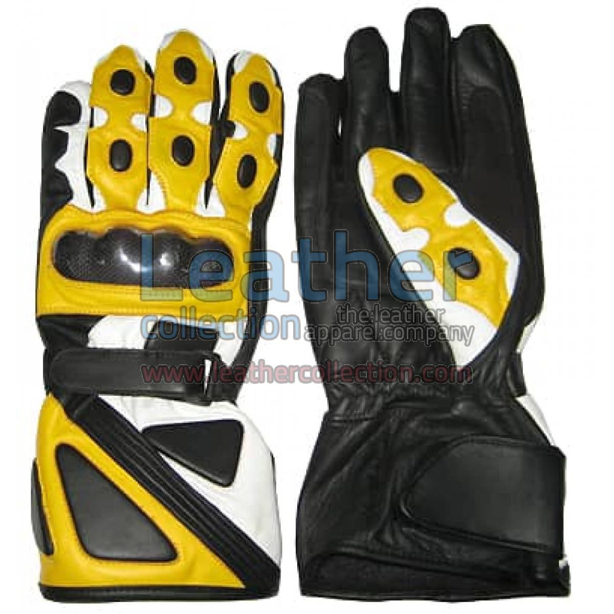 Bravo Yellow Leather Biker Gloves