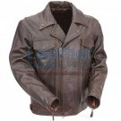 Brown Leather Pistol Pete Motorcycle Jacket with Zipper Vents