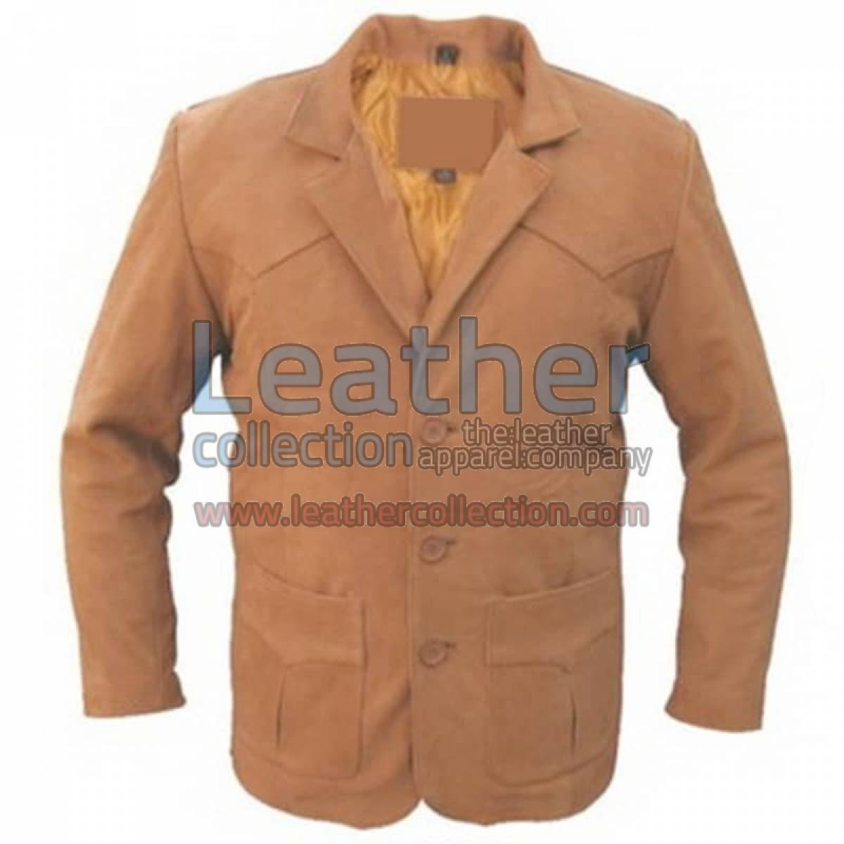 Brown Men Leather Blazer
