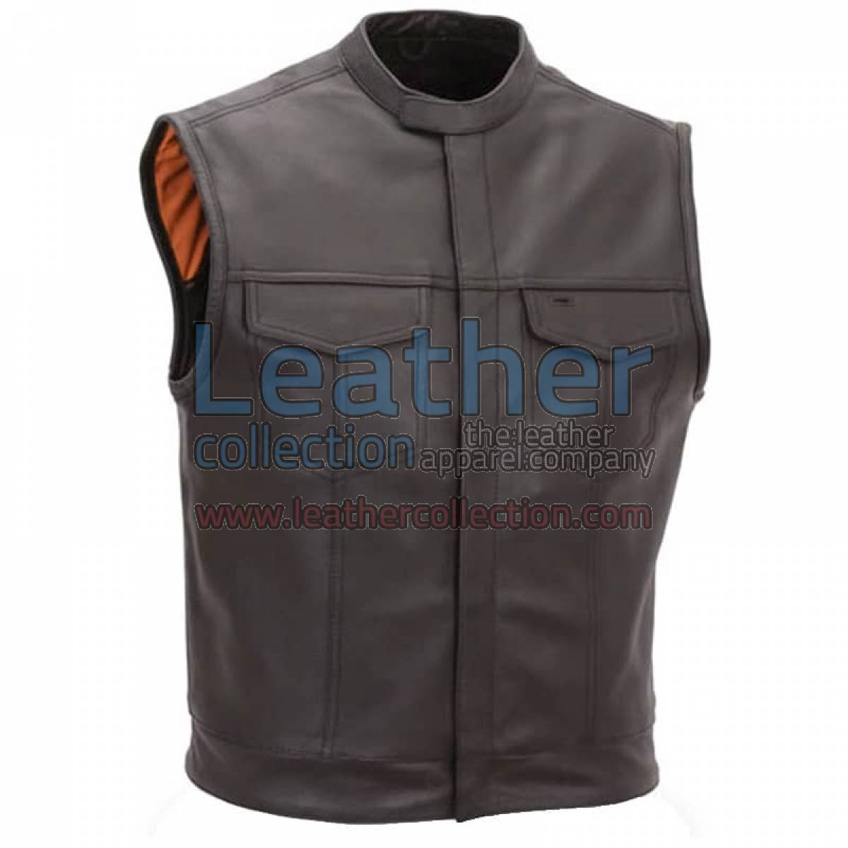 Brown Motorcycle Vest with Scooter Collar