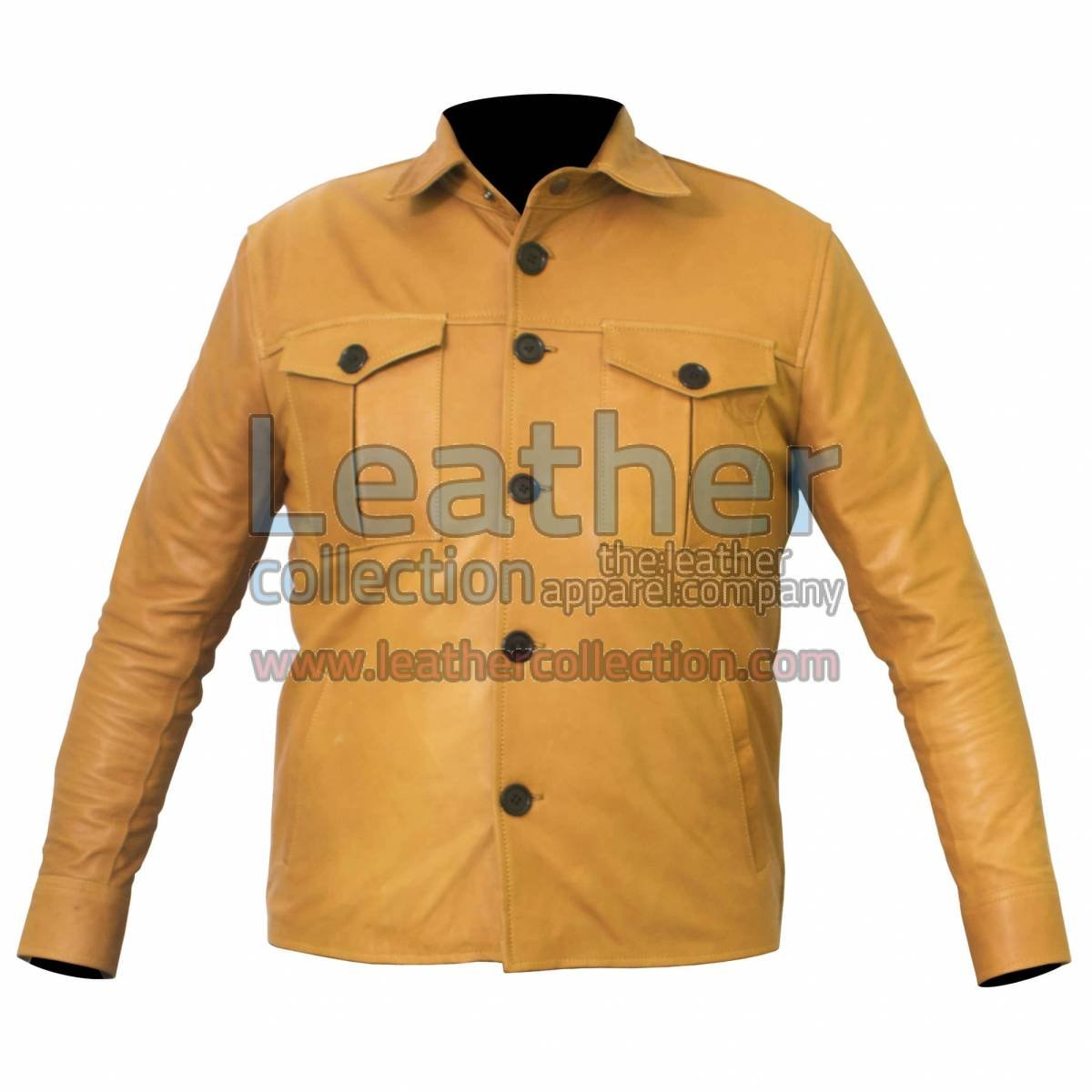 Buttoned Front Lamb Skin Shirt Style Jacket