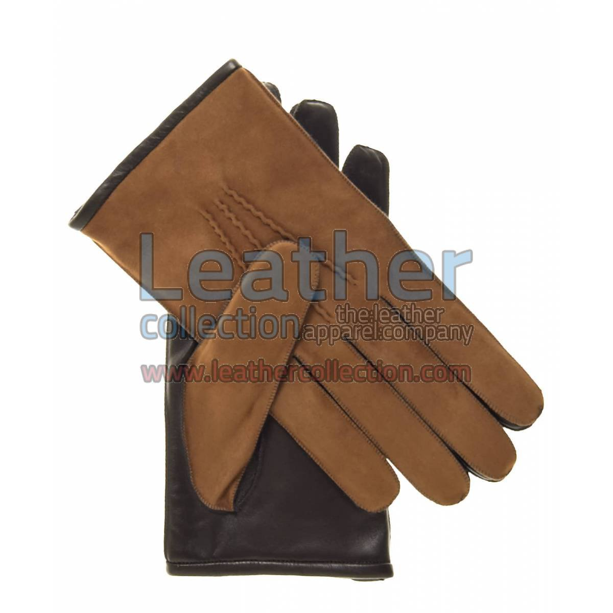 Camel Suede and Lambskin Gloves