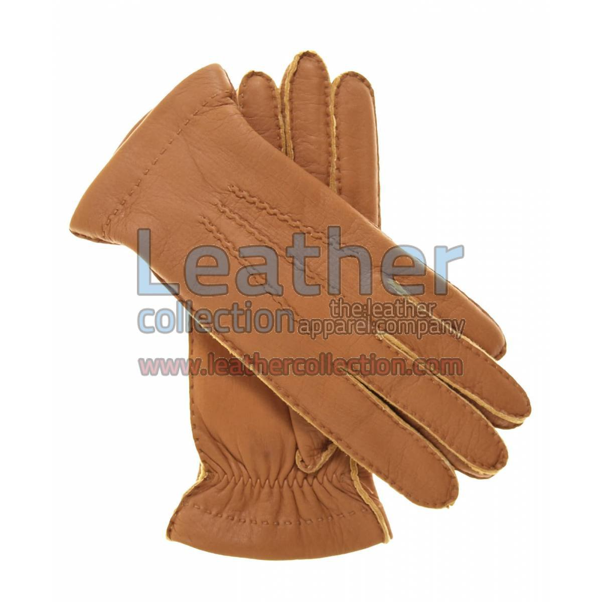 Cashmere Wool Lined Biege Lambskin Gloves