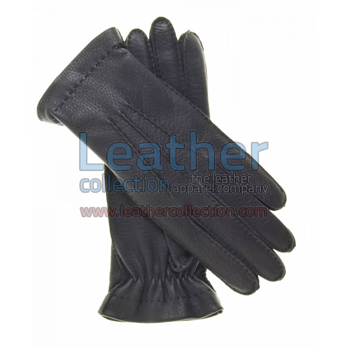 Cashmere Wool Lined Black Leather Gloves
