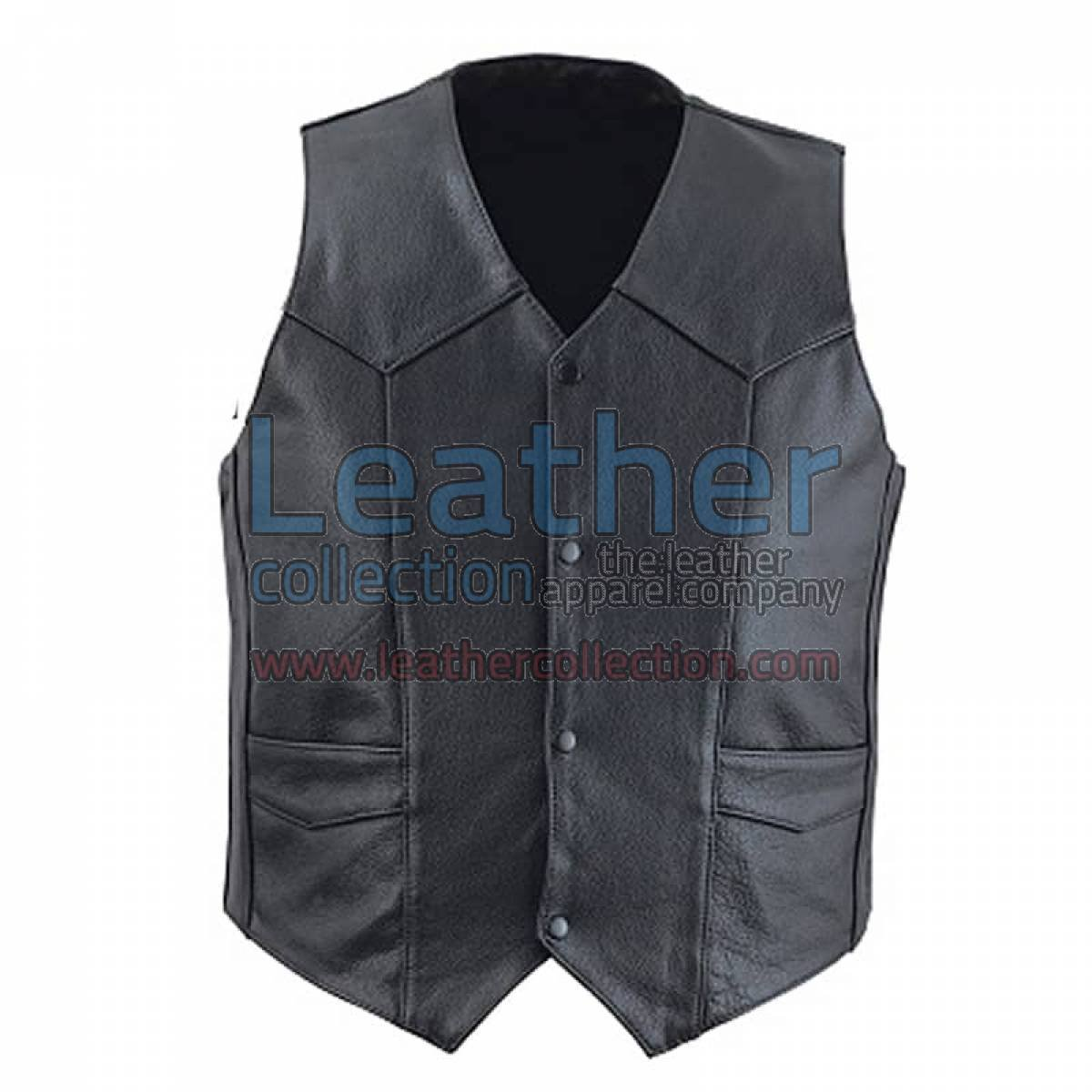 Classic Black Leather Vest for Men