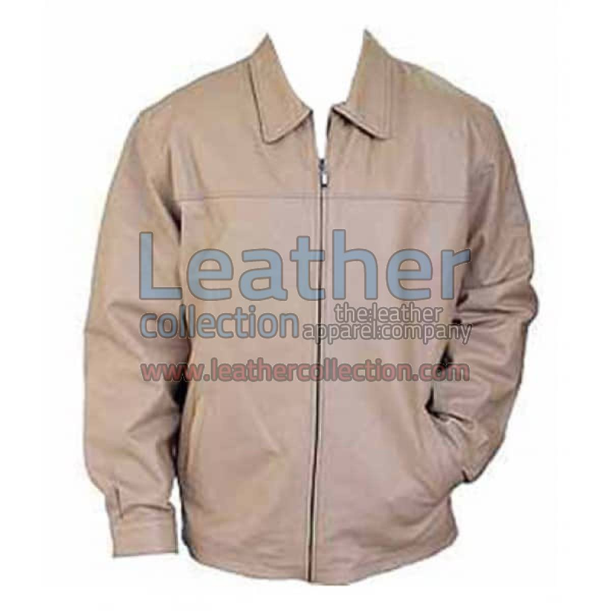 Classic Fashion Mens Beige Leather Jacket