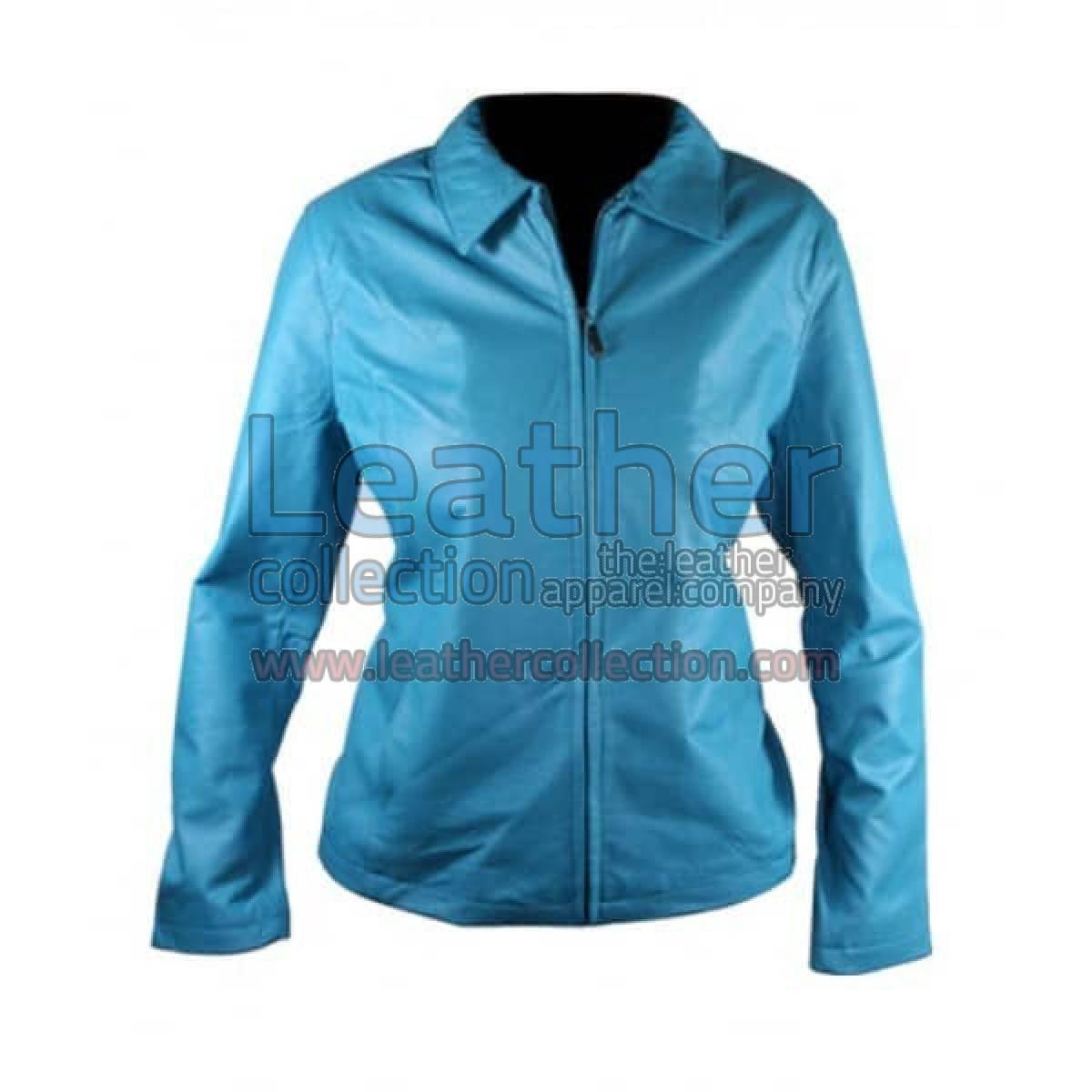 Classic Ladies Blue Leather Jacket
