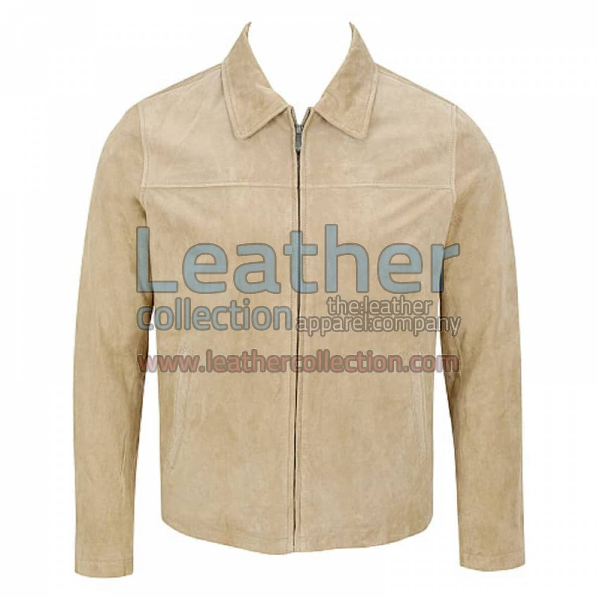 Classic Mens Suede Jacket With Shirt Collar