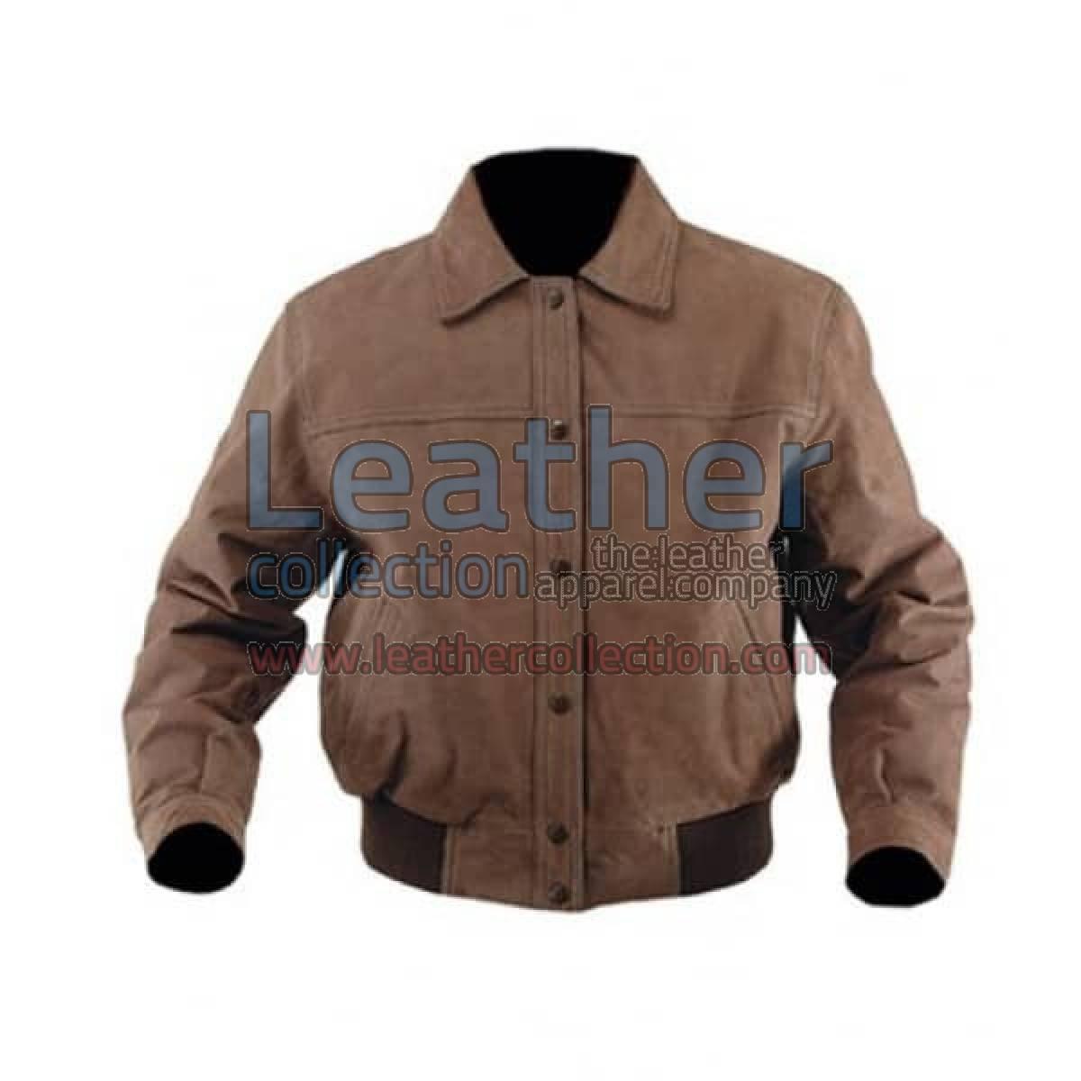 Classic Nubuck Leather Bomber Jacket