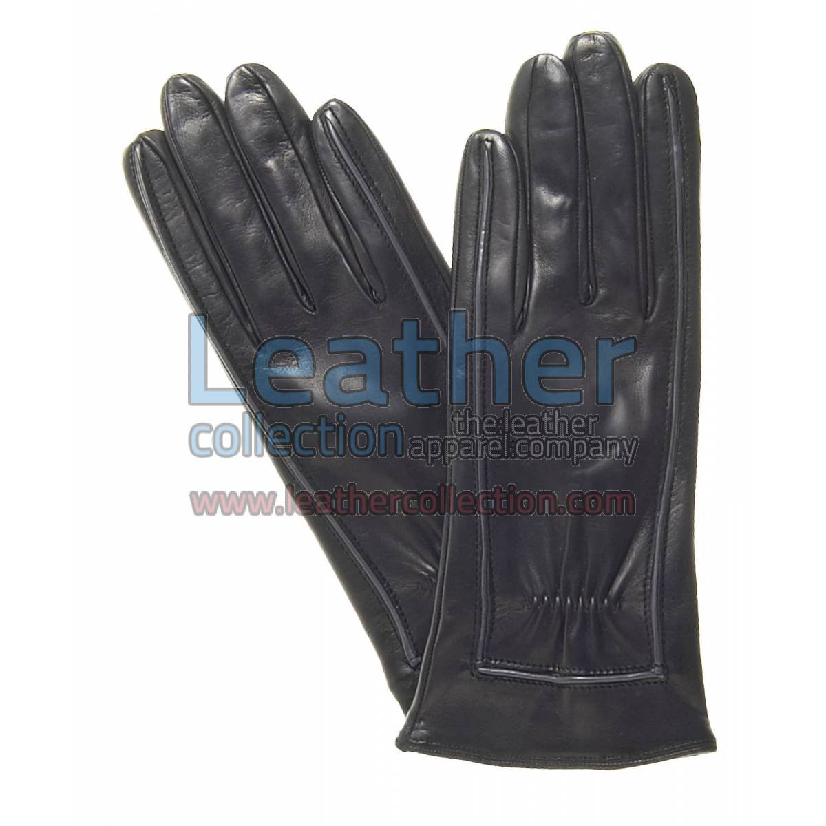 Decorative Stitching Ladies Black Leather Gloves