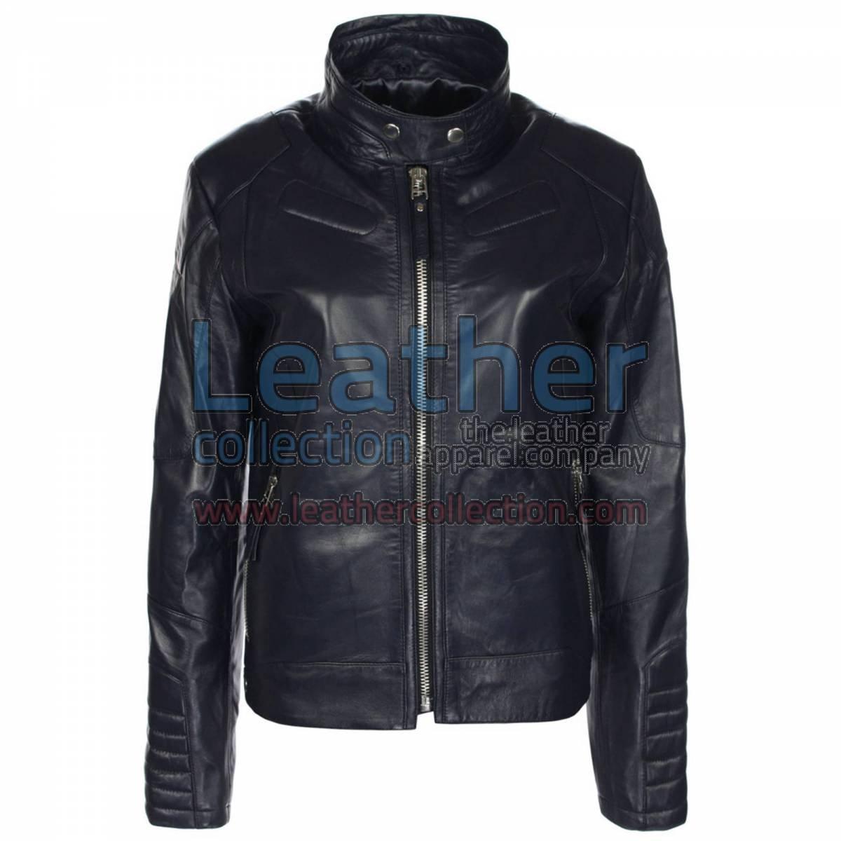 Deuce Classic Navy Biker Leather Jacket