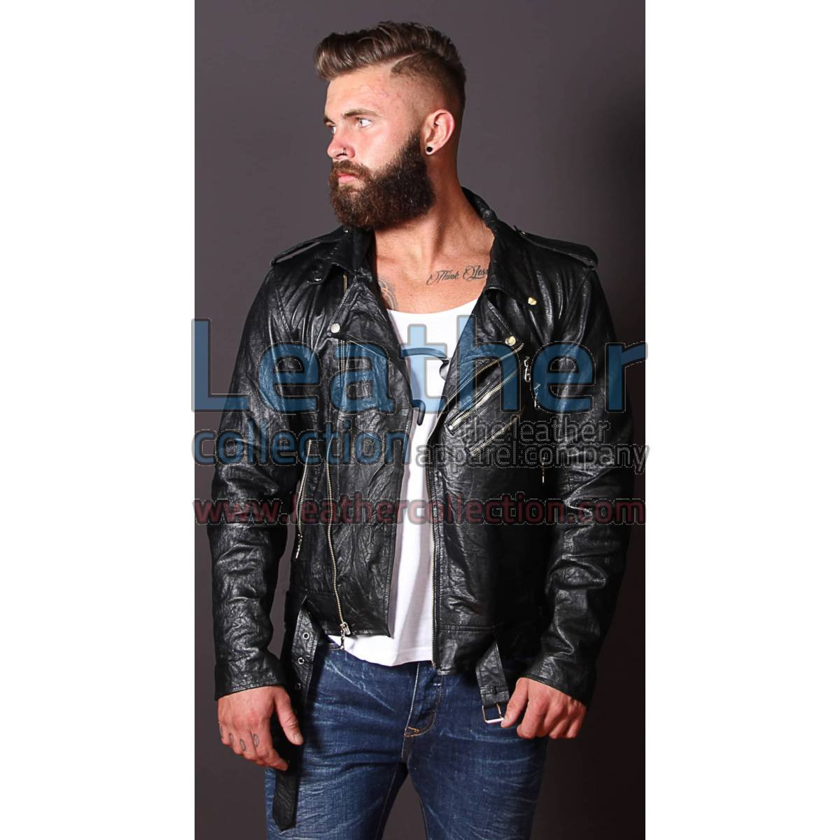 Fashion Men Wrinkle Leather Jacket