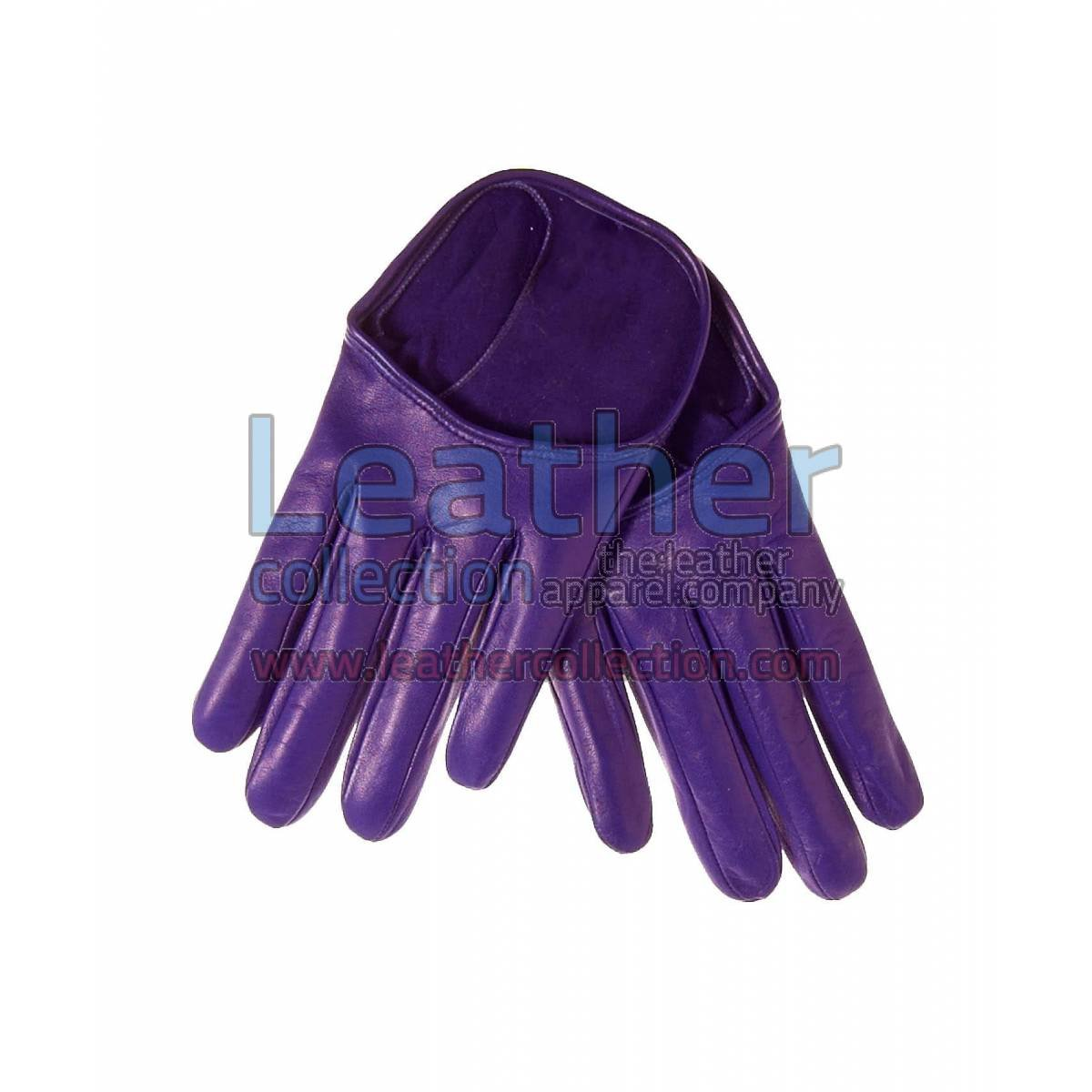 Fashion Short Purple Leather Gloves
