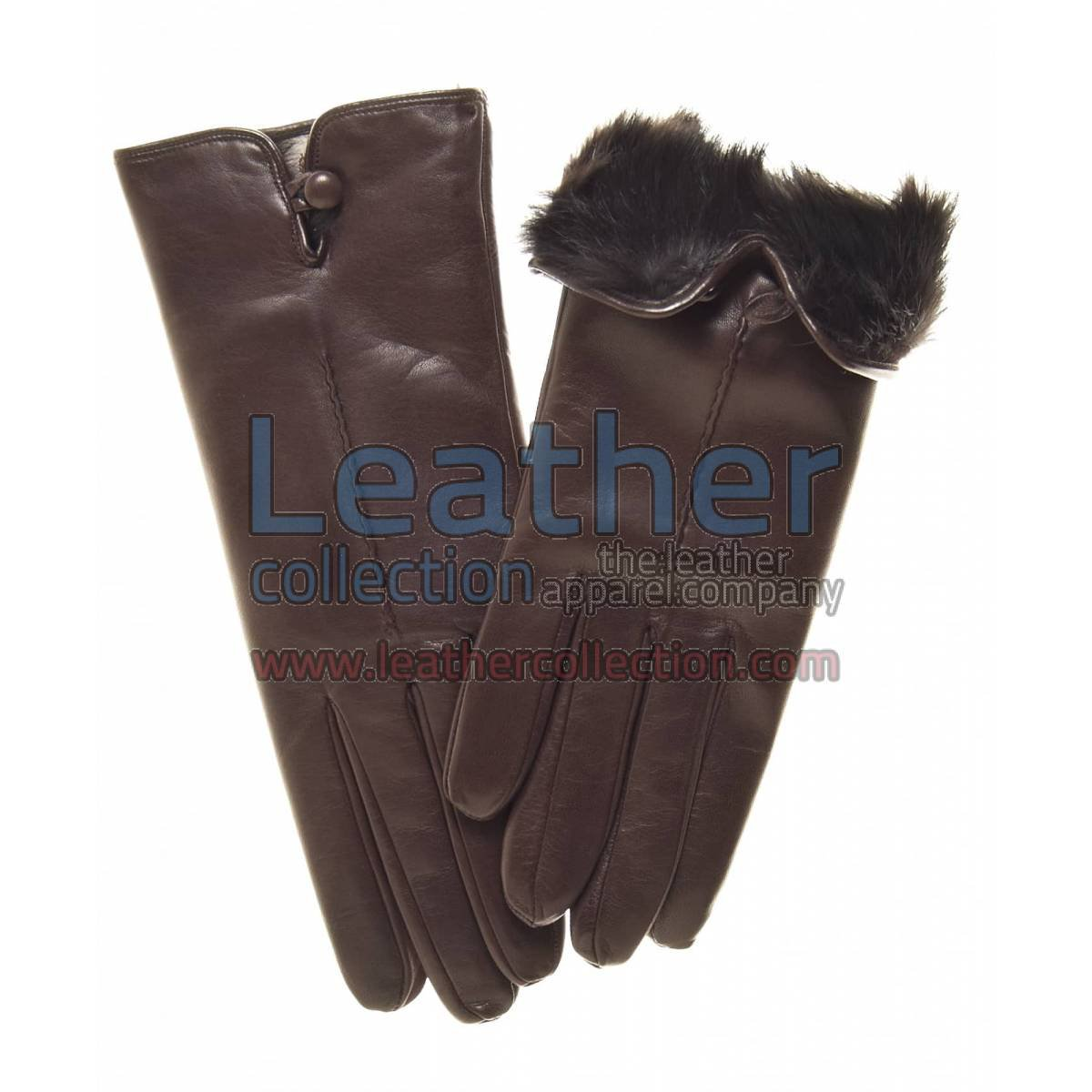 Fur Lined Leather Gloves Brown