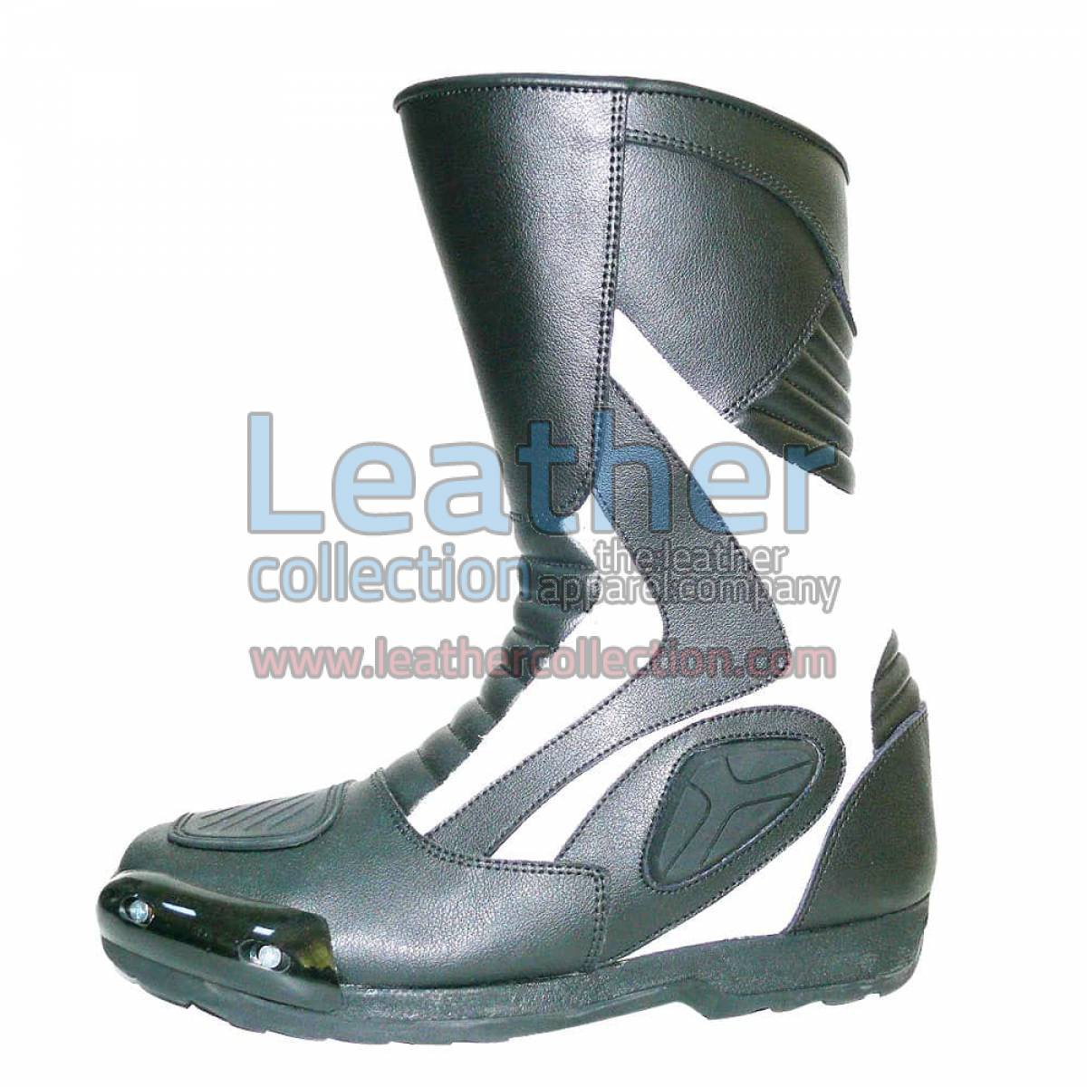 Heritage White Leather Racing Boots