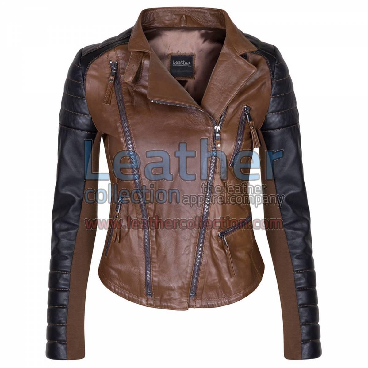 Kelly Ladies Fashion Leather Jacket Black & Brown